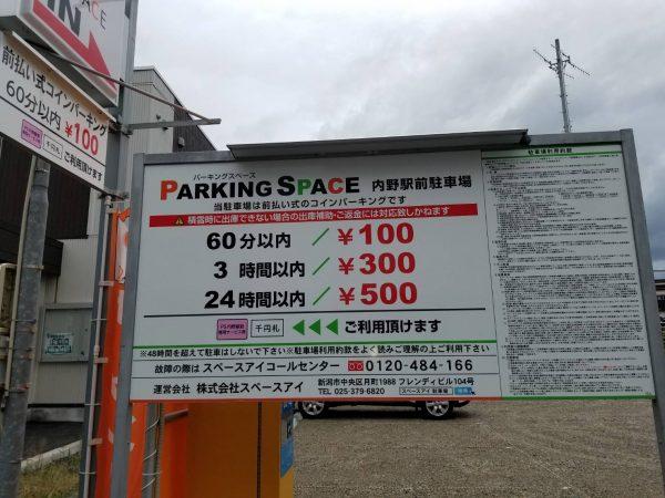 内野駅前駐車場のお知らせ